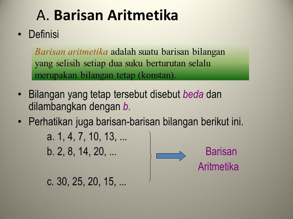 Jadi, rumus umum jumlah n suku pertama deret aritmetika adalah Keterangan: S = jumlah n suku pertama a = suku pertama b = beda U = suku ke -n n = banyak suku S = n ( a + U ) atau S = n [2 a + ( n – 1) b ]
