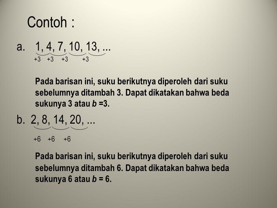 Contoh : a.1, 4, 7, 10, 13,... +3 +3 +3 +3 Pada barisan ini, suku berikutnya diperoleh dari suku sebelumnya ditambah 3. Dapat dikatakan bahwa beda suk