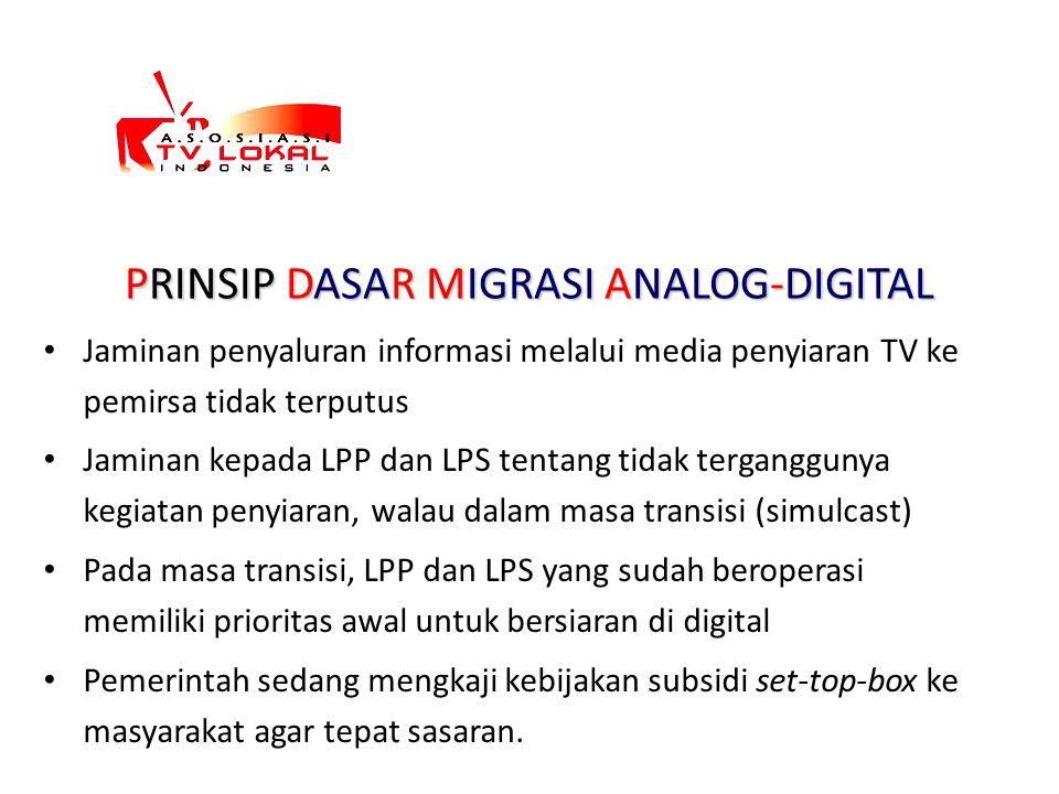 PRINSIP DASAR MIGRASI ANALOG-DIGITAL Jaminan penyaluran informasi melalui media penyiaran TV ke pemirsa tidak terputus Jaminan kepada LPP dan LPS tent