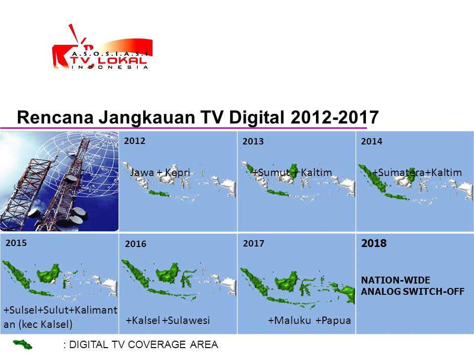 Rencana Jangkauan TV Digital 2012-2017 : DIGITAL TV COVERAGE AREA 2012 2013 2014 2015 2016 2018 NATION-WIDE ANALOG SWITCH-OFF 2017 Jawa + Kepri +Sumut
