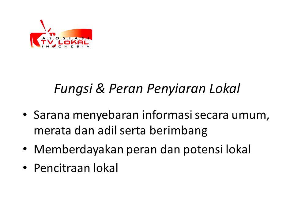 Fungsi & Peran Penyiaran Lokal Sarana menyebaran informasi secara umum, merata dan adil serta berimbang Memberdayakan peran dan potensi lokal Pencitra