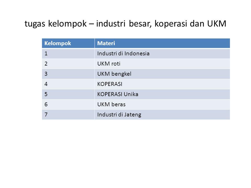 tugas kelompok – industri besar, koperasi dan UKM KelompokMateri 1Industri di Indonesia 2UKM roti 3UKM bengkel 4KOPERASI 5KOPERASI Unika 6UKM beras 7Industri di Jateng