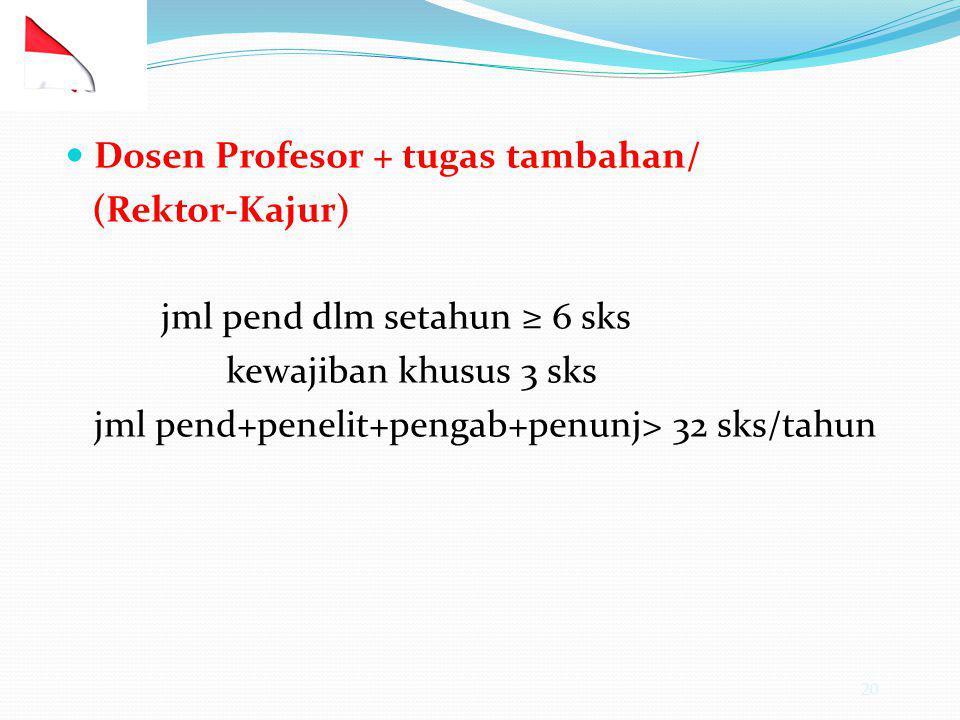 20 Dosen Profesor + tugas tambahan/ (Rektor-Kajur) jml pend dlm setahun ≥ 6 sks kewajiban khusus 3 sks jml pend+penelit+pengab+penunj> 32 sks/tahun