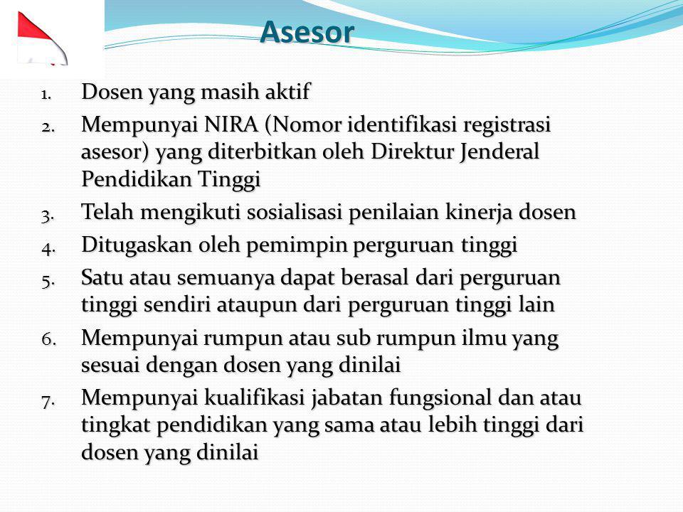Asesor 1. Dosen yang masih aktif 2. Mempunyai NIRA (Nomor identifikasi registrasi asesor) yang diterbitkan oleh Direktur Jenderal Pendidikan Tinggi 3.