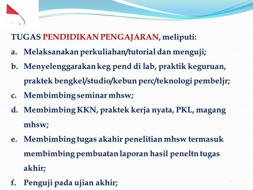 9 TUGAS PENDIDIKAN PENGAJARAN, meliputi: a.Melaksanakan perkuliahan/tutorial dan menguji; b.Menyelenggarakan keg pend di lab, praktik keguruan, prakte