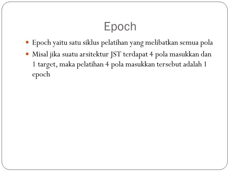 Epoch Epoch yaitu satu siklus pelatihan yang melibatkan semua pola Misal jika suatu arsitektur JST terdapat 4 pola masukkan dan 1 target, maka pelatih