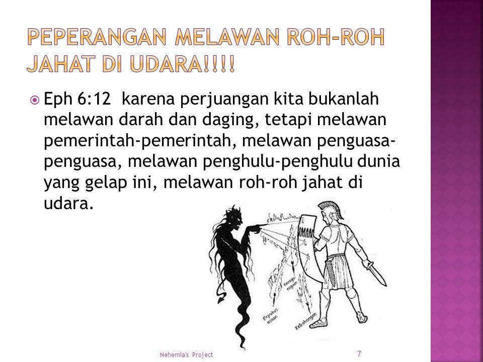  Eph 6:12 karena perjuangan kita bukanlah melawan darah dan daging, tetapi melawan pemerintah-pemerintah, melawan penguasa- penguasa, melawan penghul