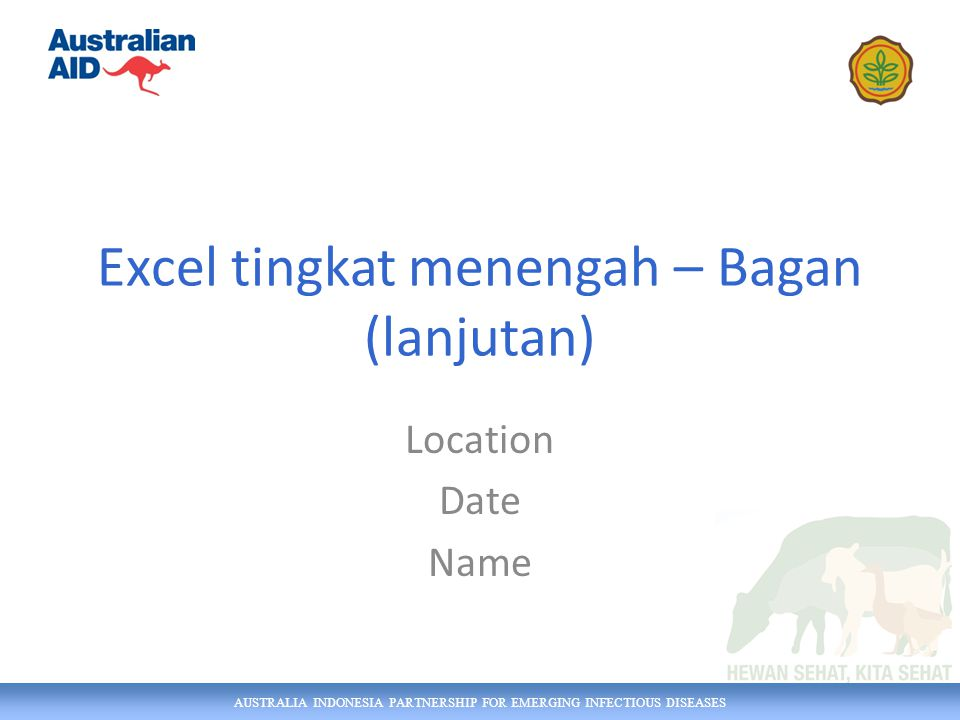 AUSTRALIA INDONESIA PARTNERSHIP FOR EMERGING INFECTIOUS DISEASES Excel tingkat menengah – Bagan (lanjutan) Location Date Name