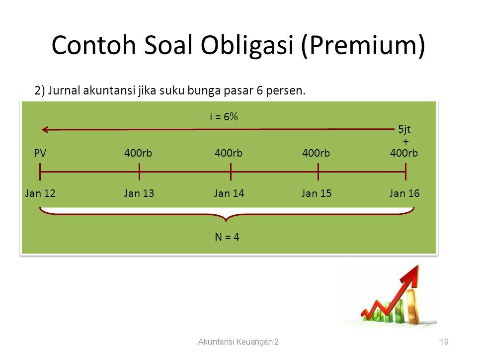 Contoh Soal Obligasi (Premium) Akuntansi Keuangan 219 2) Jurnal akuntansi jika suku bunga pasar 6 persen. Jan 12Jan 13Jan 14Jan 15Jan 16 N = 4 PV400rb