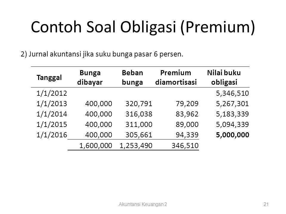 Contoh Soal Obligasi (Premium) Akuntansi Keuangan 221 2) Jurnal akuntansi jika suku bunga pasar 6 persen.