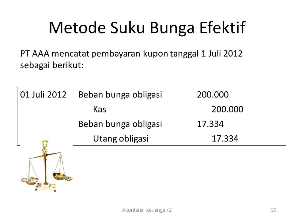Metode Suku Bunga Efektif Akuntansi Keuangan 230 PT AAA mencatat pembayaran kupon tanggal 1 Juli 2012 sebagai berikut: 01 Juli 2012Beban bunga obligasi200.000 Kas200.000 Beban bunga obligasi17.334 Utang obligasi17.334