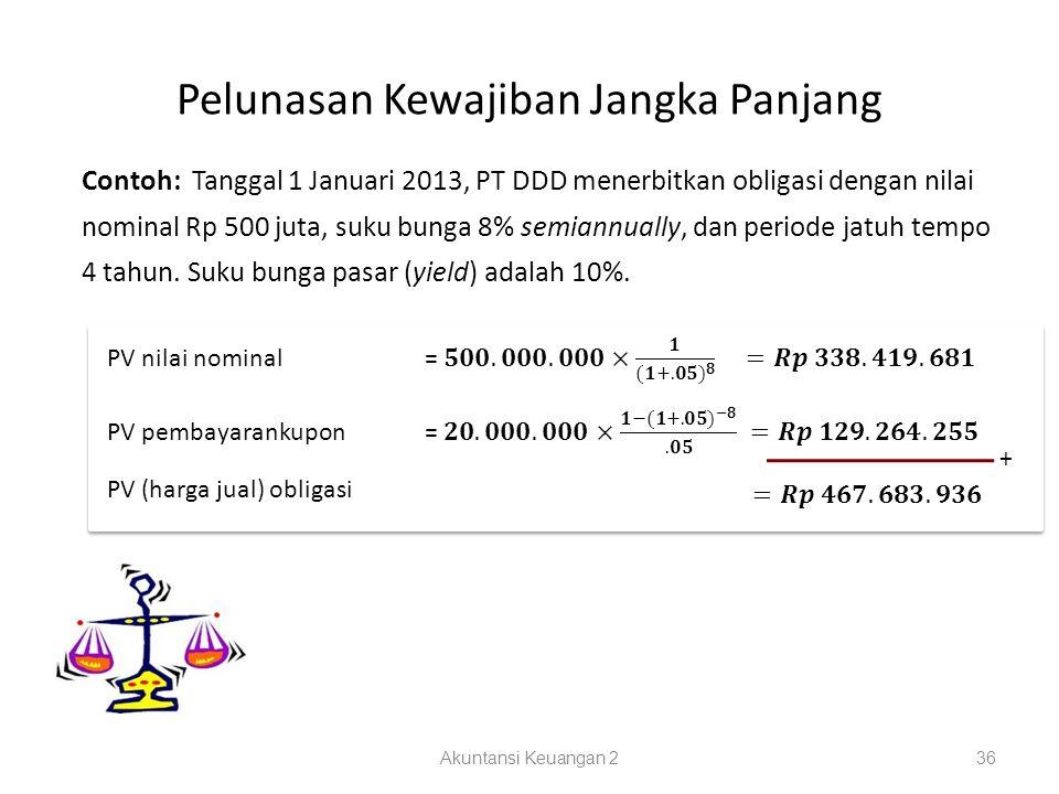 Pelunasan Kewajiban Jangka Panjang Akuntansi Keuangan 236 Contoh: Tanggal 1 Januari 2013, PT DDD menerbitkan obligasi dengan nilai nominal Rp 500 juta