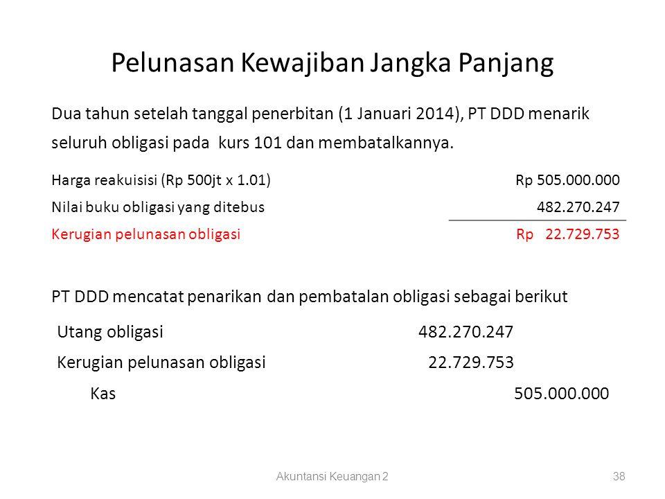 Pelunasan Kewajiban Jangka Panjang Akuntansi Keuangan 238 Dua tahun setelah tanggal penerbitan (1 Januari 2014), PT DDD menarik seluruh obligasi pada kurs 101 dan membatalkannya.