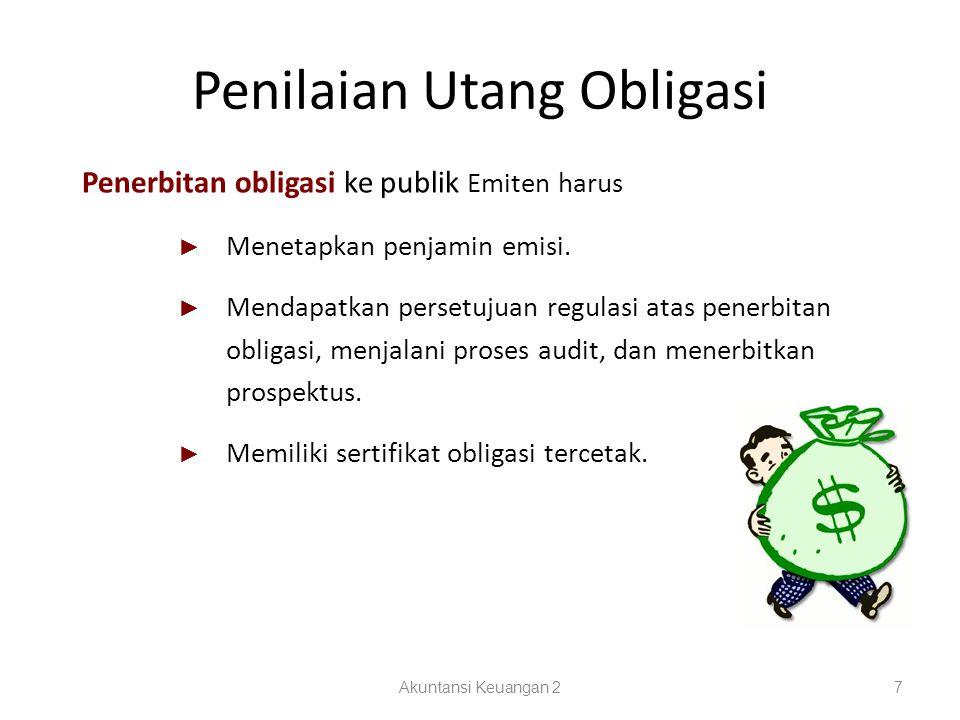 Penilaian Utang Obligasi Akuntansi Keuangan 27 Penerbitan obligasi ke publik Emiten harus ► Menetapkan penjamin emisi. ► Mendapatkan persetujuan regul