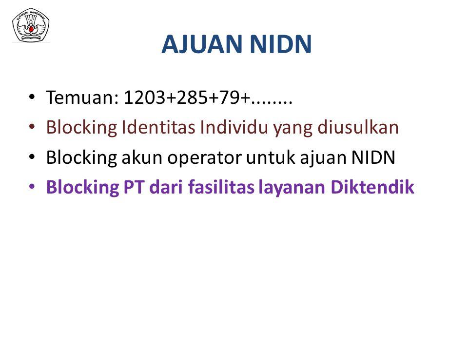 AJUAN NIDN Temuan: 1203+285+79+........ Blocking Identitas Individu yang diusulkan Blocking akun operator untuk ajuan NIDN Blocking PT dari fasilitas
