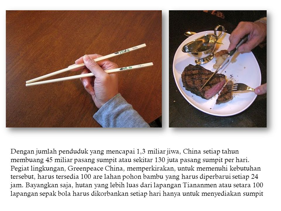 Dengan jumlah penduduk yang mencapai 1,3 miliar jiwa, China setiap tahun membuang 45 miliar pasang sumpit atau sekitar 130 juta pasang sumpit per hari