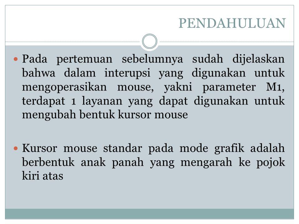 PENDAHULUAN (Lanjutan…) Kursor mouse standar pada mode grafik adalah berbentuk anak panah makin lama akan terlihat membosankan Sehingga banyak disajikan cara membuat dan mengubah bentuk kursor mouse