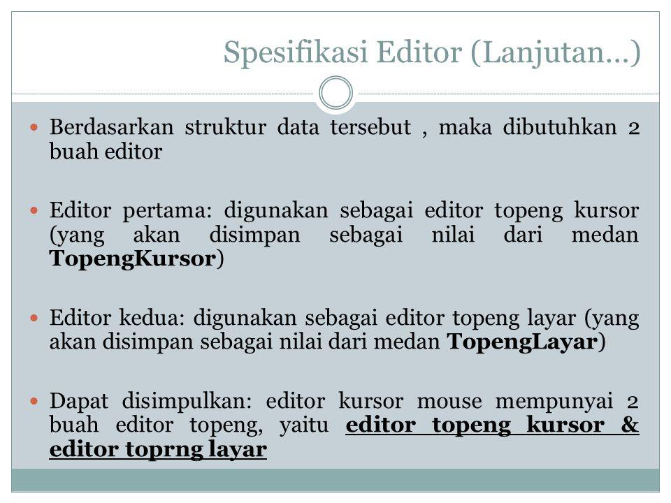 Spesifikasi Editor (Lanjutan…) Berdasarkan struktur data tersebut, maka dibutuhkan 2 buah editor Editor pertama: digunakan sebagai editor topeng kurso