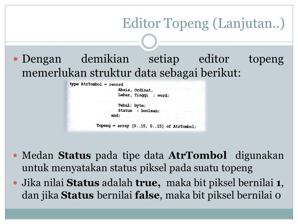 Editor Topeng (Lanjutan..) Dengan demikian setiap editor topeng memerlukan struktur data sebagai berikut: Medan Status pada tipe data AtrTombol diguna