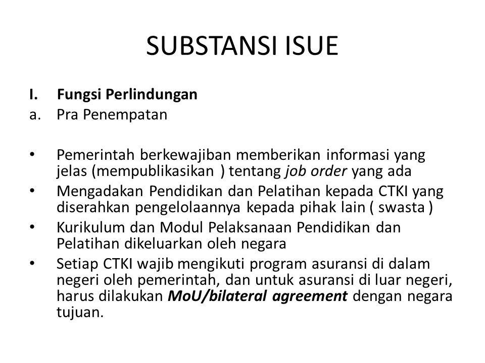 SUBSTANSI ISUE I. Fungsi Perlindungan a.Pra Penempatan Pemerintah berkewajiban memberikan informasi yang jelas (mempublikasikan ) tentang job order ya