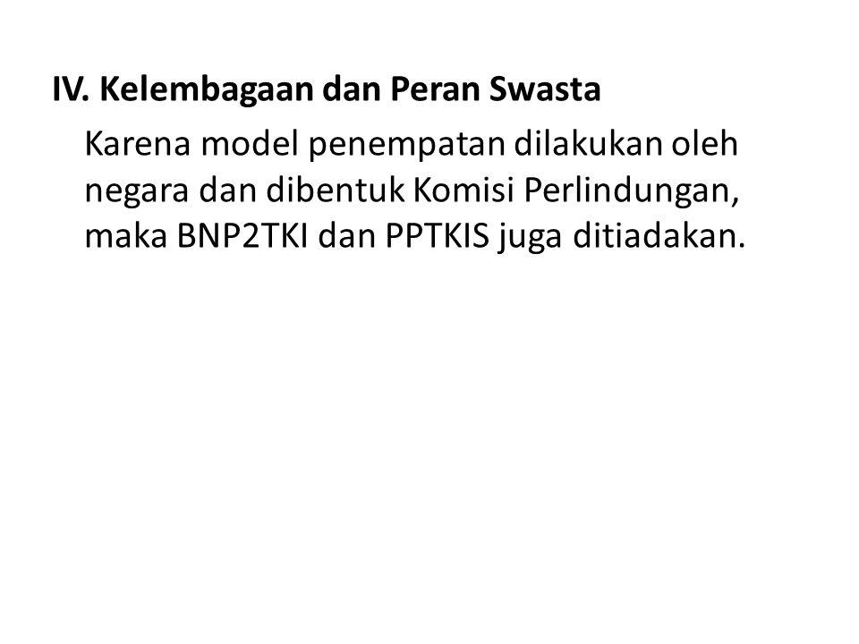 IV. Kelembagaan dan Peran Swasta Karena model penempatan dilakukan oleh negara dan dibentuk Komisi Perlindungan, maka BNP2TKI dan PPTKIS juga ditiadak