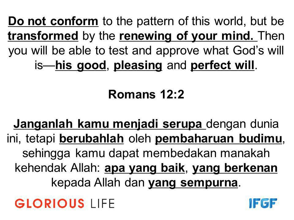 Reset your mind Perbaharui Pikiran Anda ….his good, pleasing and perfect will.