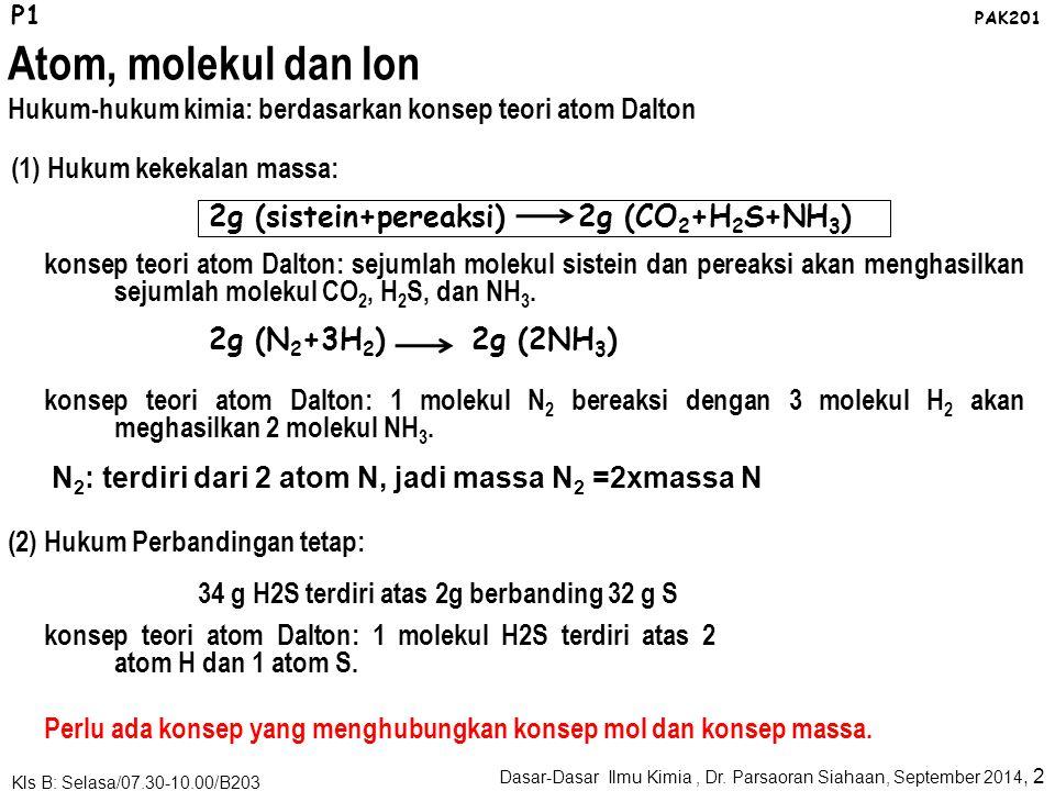 Oleh: Dr. Parsaoran Siahaan DASAR-DASAR ILMU KIMIA: Atom, Molekul, dan Rumus emperis/molekul Dasar-Dasar Ilmu Kimia, Dr. Parsaoran Siahaan, September-
