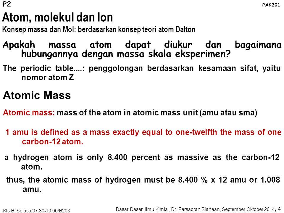Contoh-Contoh P2 PAK201 Dasar-Dasar Ilmu Kimia, Dr. Parsaoran Siahaan, September-Oktober 2014, 3 Kls B: Selasa/07.30-10.00/B203