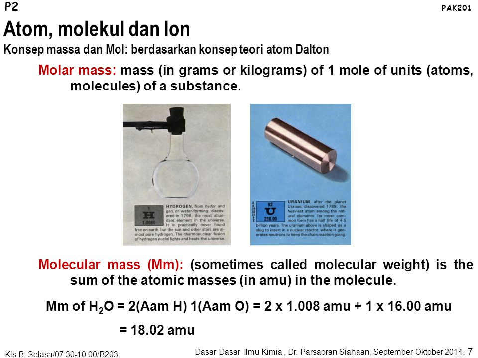 Avogadro's number: Atomic mass unit provide a relative scale for the masses of the elements.