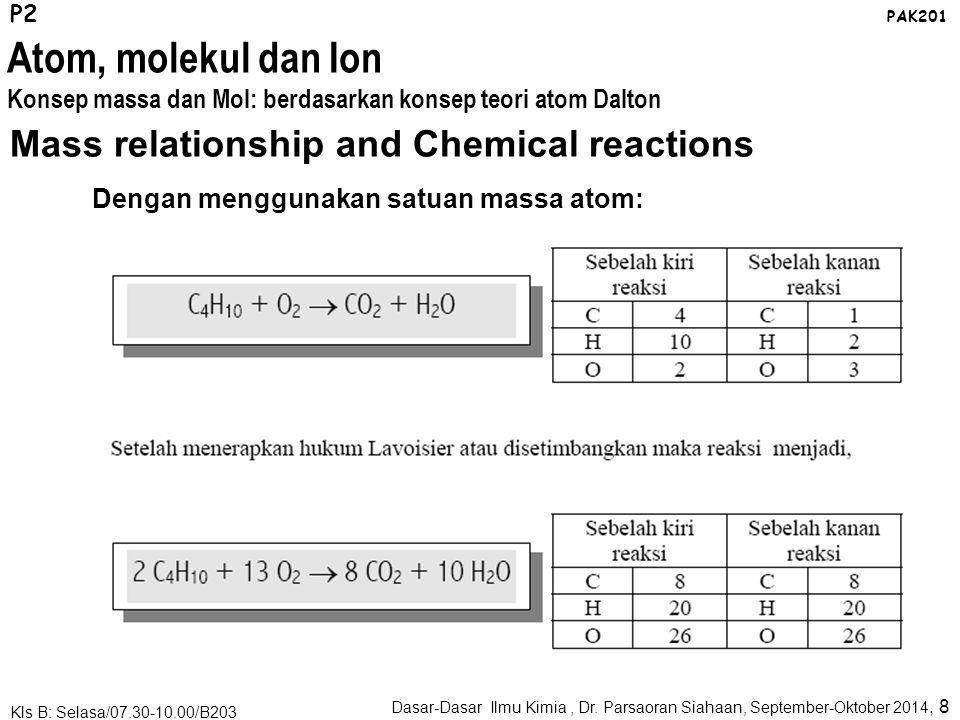 Mass relationship and Chemical reactions Dengan menggunakan satuan massa atom: P2 PAK201 Dasar-Dasar Ilmu Kimia, Dr.