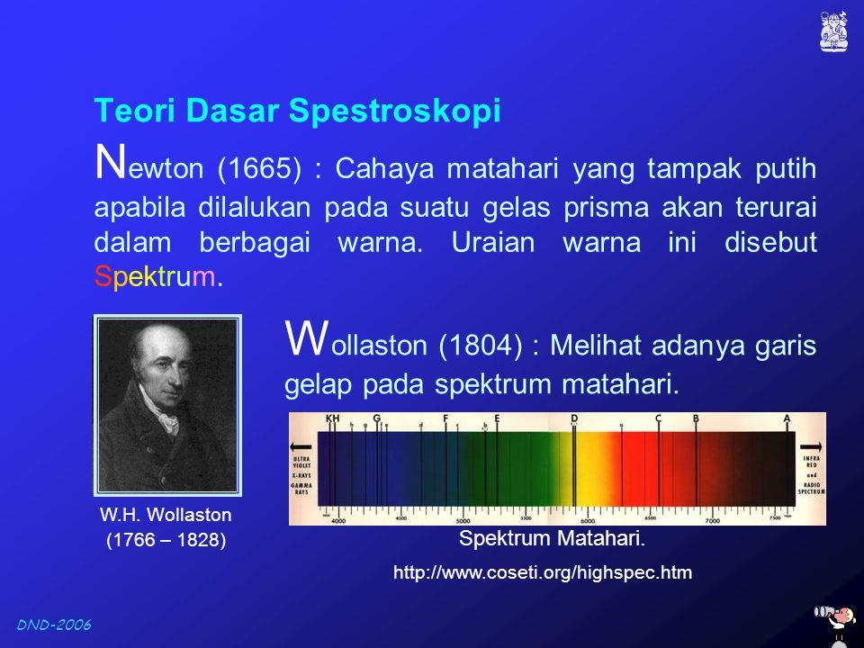 DND-2006 F raunhofer (1815) : Melakukan pengamatan pada spektrum matahari dan berhasil mengkataloguskan 600 garis.