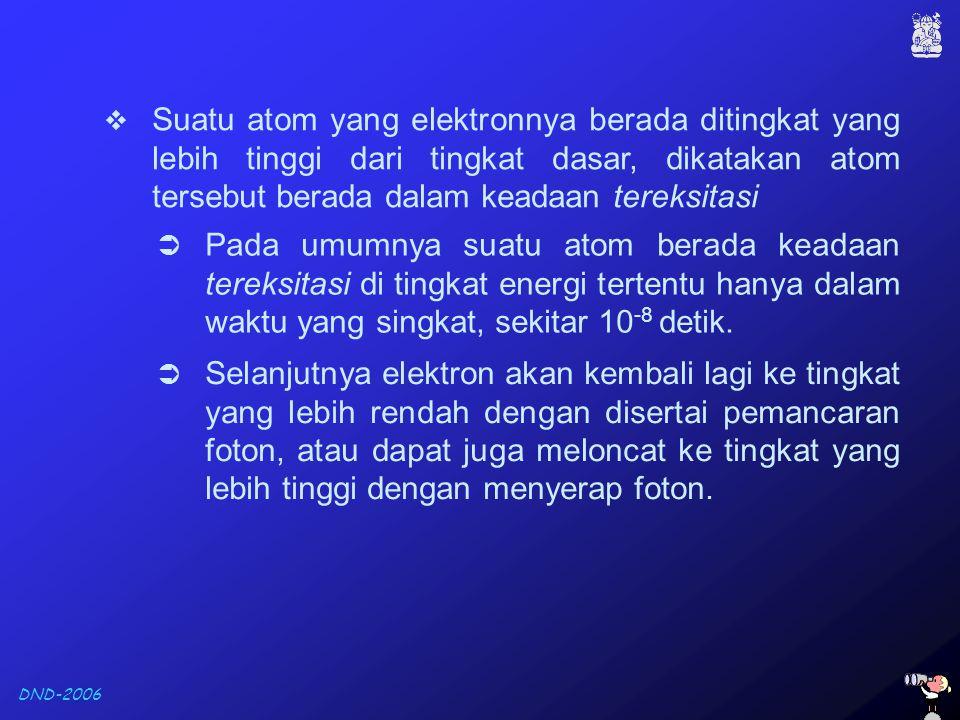 DND-2006  Suatu atom yang elektronnya berada ditingkat yang lebih tinggi dari tingkat dasar, dikatakan atom tersebut berada dalam keadaan tereksitasi