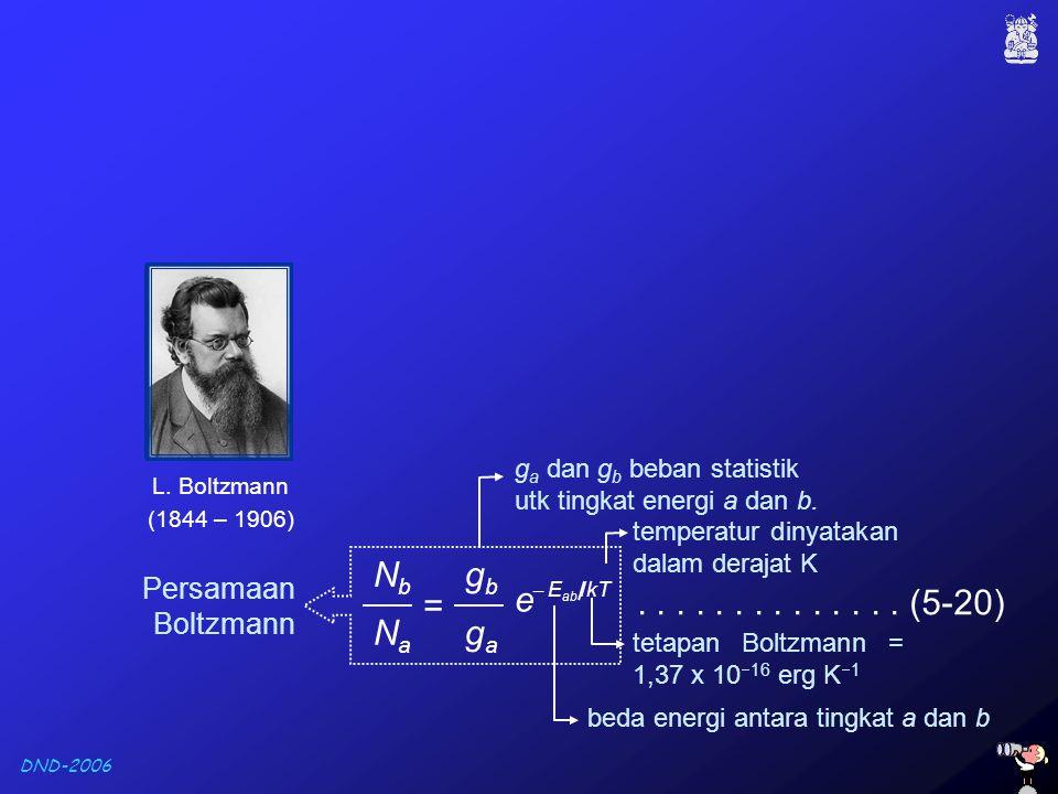 DND-2006 beda energi antara tingkat a dan b temperatur dinyatakan dalam derajat K tetapan Boltzmann = 1,37 x 10  16 erg K  1 Persamaan Boltzmann g a