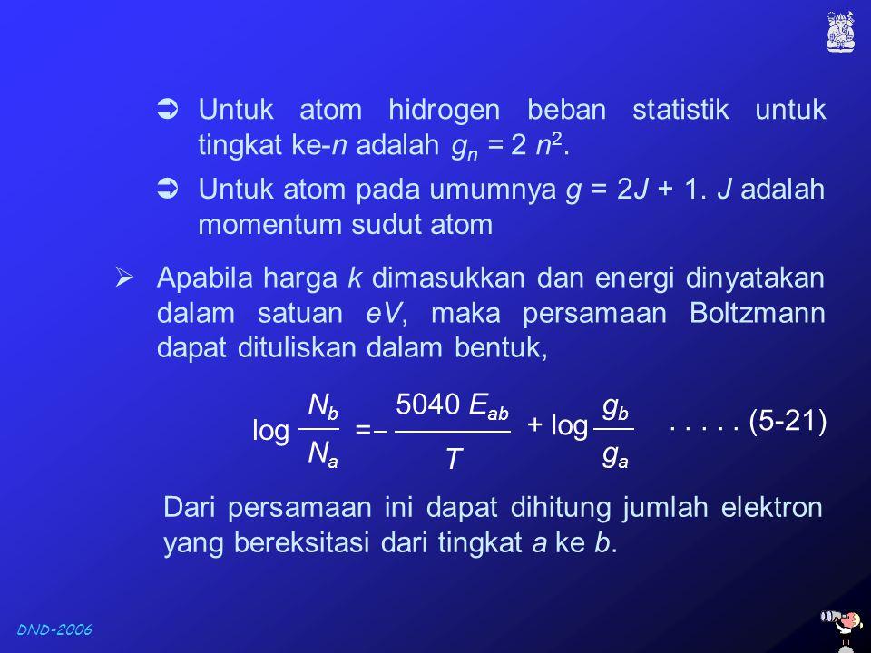 DND-2006  Untuk atom hidrogen beban statistik untuk tingkat ke-n adalah g n = 2 n 2.  Apabila harga k dimasukkan dan energi dinyatakan dalam satuan