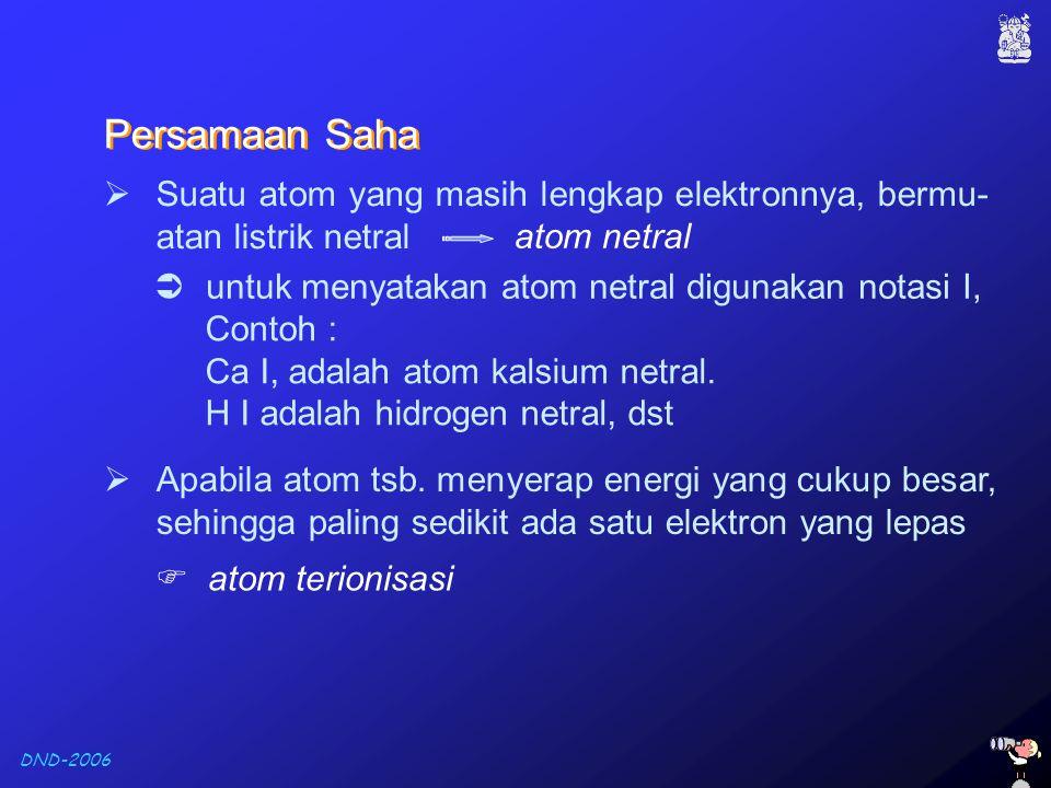 DND-2006  Suatu atom yang masih lengkap elektronnya, bermu- atan listrik netral atom netral  Apabila atom tsb. menyerap energi yang cukup besar, seh