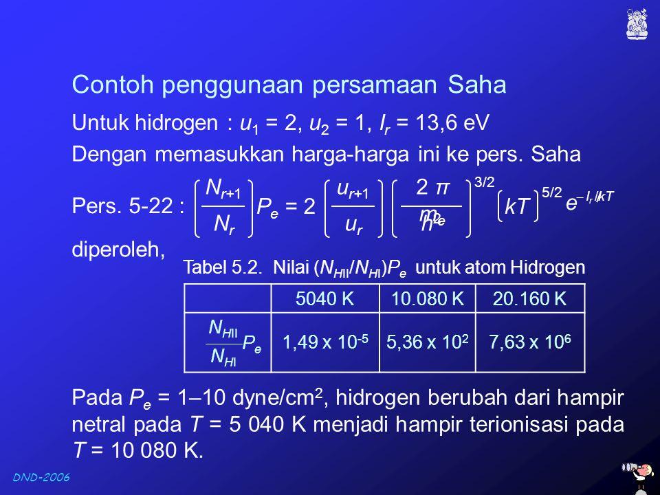 DND-2006 Dengan memasukkan harga-harga ini ke pers. Saha Contoh penggunaan persamaan Saha Untuk hidrogen : u 1 = 2, u 2 = 1, I r = 13,6 eV 5040 K10.08