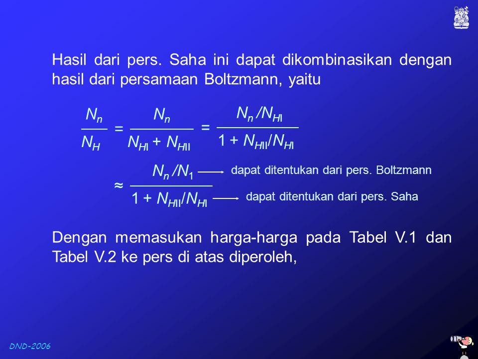DND-2006 Hasil dari pers. Saha ini dapat dikombinasikan dengan hasil dari persamaan Boltzmann, yaitu NnNn NHNH = NnNn N HI + N HII = N n /N HI 1 + N H
