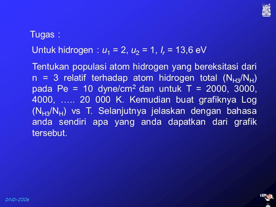 DND-2006 Tugas : Untuk hidrogen : u 1 = 2, u 2 = 1, I r = 13,6 eV Tentukan populasi atom hidrogen yang bereksitasi dari n = 3 relatif terhadap atom hi