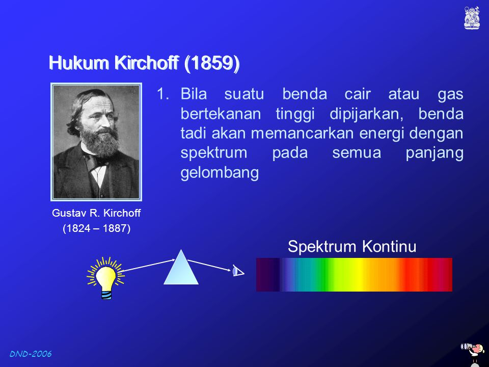DND-2006 Hukum Kirchoff (1859) Hukum Kirchoff (1859) 1.Bila suatu benda cair atau gas bertekanan tinggi dipijarkan, benda tadi akan memancarkan energi