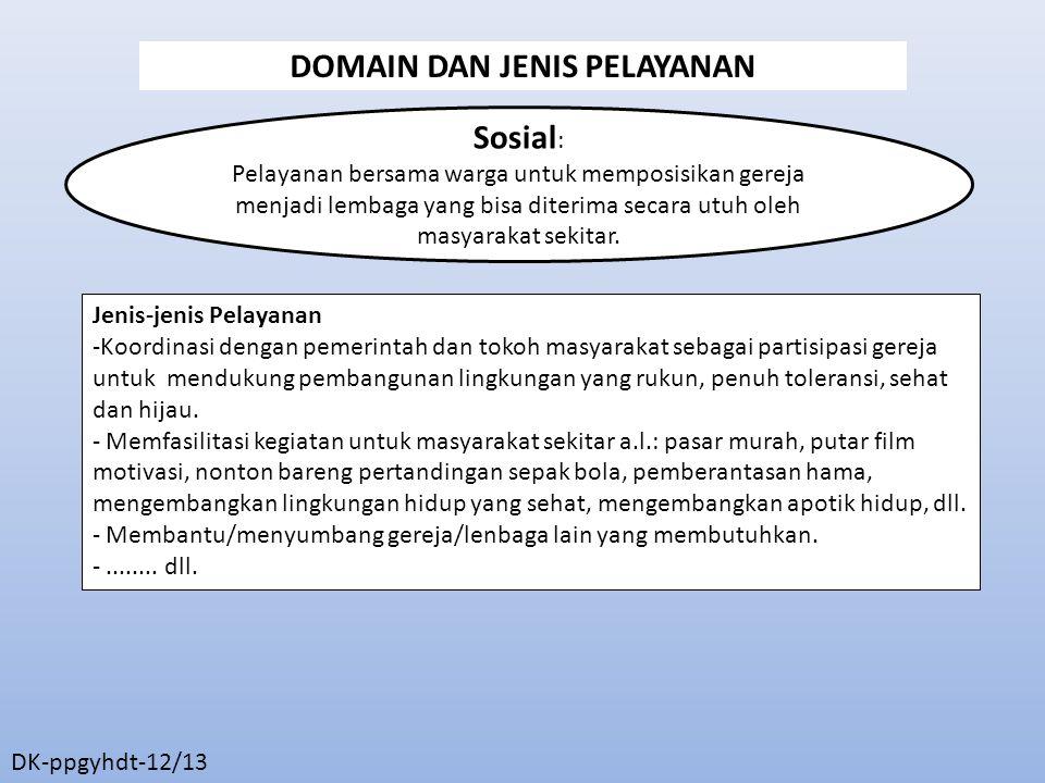 Sosial : Pelayanan bersama warga untuk memposisikan gereja menjadi lembaga yang bisa diterima secara utuh oleh masyarakat sekitar.