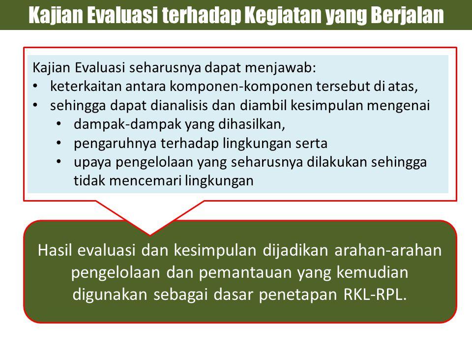 Hasil evaluasi dan kesimpulan dijadikan arahan-arahan pengelolaan dan pemantauan yang kemudian digunakan sebagai dasar penetapan RKL-RPL.