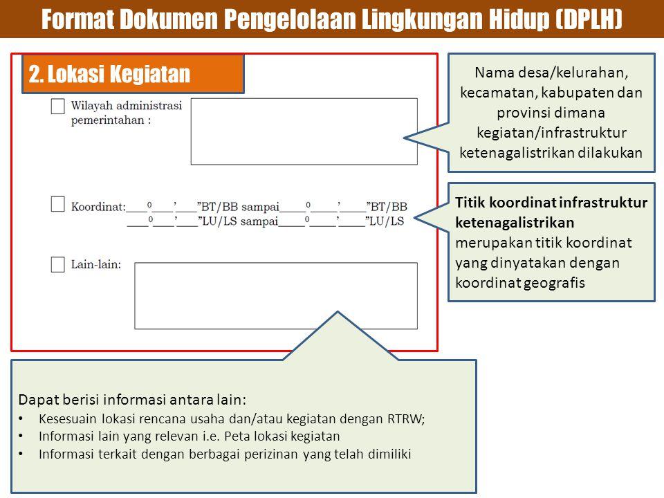 Format Dokumen Pengelolaan Lingkungan Hidup (DPLH) 2.