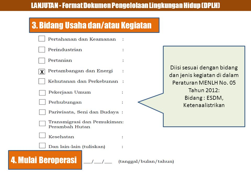 LANJUTAN - Format Dokumen Pengelolaan Lingkungan Hidup (DPLH) 3.
