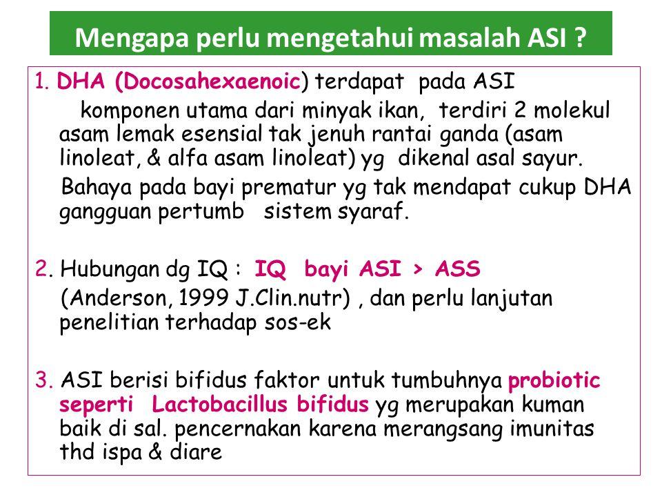 ASI eklusif menurunkan angka kematian bayi dan anak Lama menyusuResiko diare 0-3 bulan 3,0 3-5 bulan 2,4 6-8 bulan 1,3 9-11 bulan 1,5 Angka kesakitan dan kematian bayi pada ASI ekslusif lebih rendah dibanding pada kelompok ASI + susu botol, kelompok Susu botol, kelompok disapih baik negara berkembang atau negara maju khusus penyakit saluran pencernakan