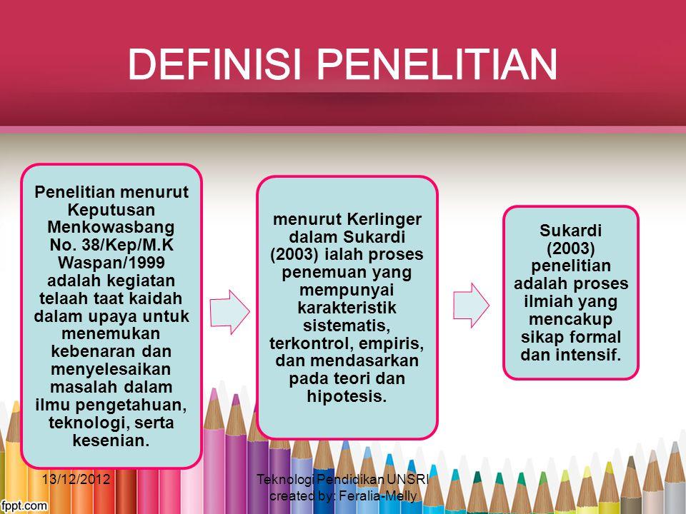 Penelitian menurut Keputusan Menkowasbang No. 38/Kep/M.K Waspan/1999 adalah kegiatan telaah taat kaidah dalam upaya untuk menemukan kebenaran dan meny