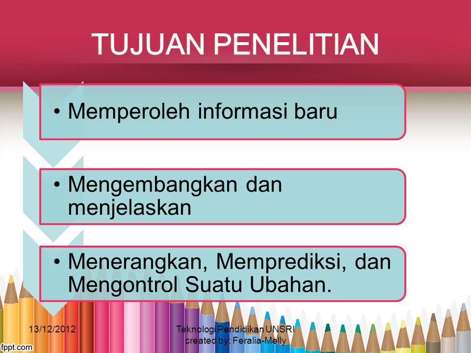 Memperoleh informasi baru Mengembangkan dan menjelaskan Menerangkan, Memprediksi, dan Mengontrol Suatu Ubahan. 13/12/2012Teknologi Pendidikan UNSRI cr