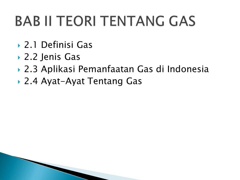 2.1 Definisi Gas  2.2 Jenis Gas  2.3 Aplikasi Pemanfaatan Gas di Indonesia  2.4 Ayat-Ayat Tentang Gas