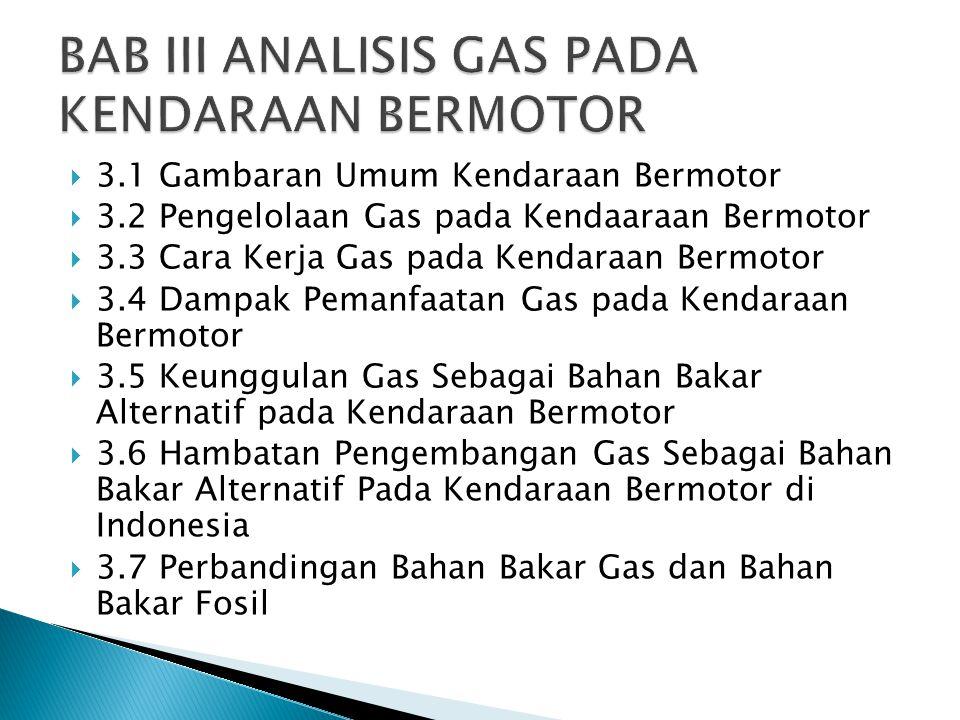  3.1 Gambaran Umum Kendaraan Bermotor  3.2 Pengelolaan Gas pada Kendaaraan Bermotor  3.3 Cara Kerja Gas pada Kendaraan Bermotor  3.4 Dampak Pemanf