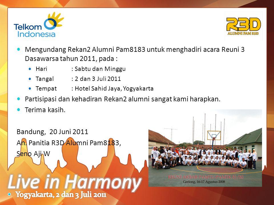 Mengundang Rekan2 Alumni Pam8183 untuk menghadiri acara Reuni 3 Dasawarsa tahun 2011, pada : Hari: Sabtu dan Minggu Tangal: 2 dan 3 Juli 2011 Tempat: Hotel Sahid Jaya, Yogyakarta Partisipasi dan kehadiran Rekan2 alumni sangat kami harapkan.