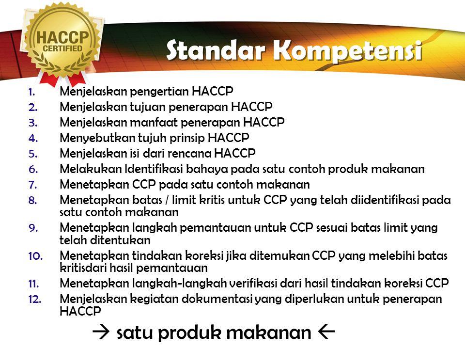LOGO Standar Kompetensi 1.Menjelaskan pengertian HACCP 2.Menjelaskan tujuan penerapan HACCP 3.Menjelaskan manfaat penerapan HACCP 4.Menyebutkan tujuh prinsip HACCP 5.Menjelaskan isi dari rencana HACCP 6.Melakukan Identifikasi bahaya pada satu contoh produk makanan 7.Menetapkan CCP pada satu contoh makanan 8.Menetapkan batas / limit kritis untuk CCP yang telah diidentifikasi pada satu contoh makanan 9.Menetapkan langkah pemantauan untuk CCP sesuai batas limit yang telah ditentukan 10.Menetapkan tindakan koreksi jika ditemukan CCP yang melebihi batas kritisdari hasil pemantauan 11.Menetapkan langkah-langkah verifikasi dari hasil tindakan koreksi CCP 12.Menjelaskan kegiatan dokumentasi yang diperlukan untuk penerapan HACCP  satu produk makanan 